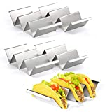 """Taco Holder – Set of 4 Stainless Steel Taco Holder Stand,Tortilla Makers Holds Up to 3 Tacos,8.5"""" x 4"""" Taco Rack Safe for Oven, Dishwasher and Grill, Perfect To Keep Your Delicious Tacos"""