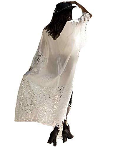 MeiLing Women's Sexy Bikini Swimsuit Bathing Suit Cover Ups Swimwear Beach Dress Long Kimono Jacket Cardigan Robe (White 8)