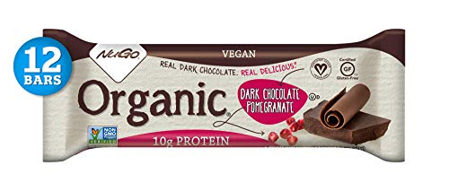 NuGo Organic Dark Chocolate Pomegranate, 10g Vegan Protein, Gluten Free, 190 Calories, 12 Count