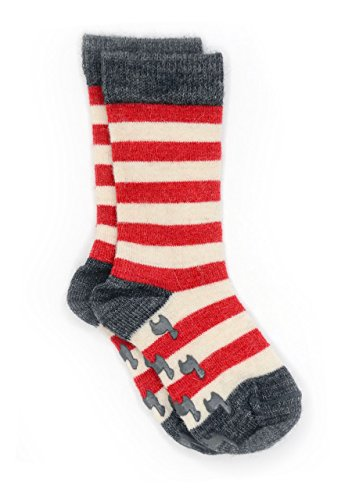 Warrior Alpaca Socks - Baby Alpaca Toddler Non-Skid Children's Striped SocksNEW (12/12-24mos, Red -