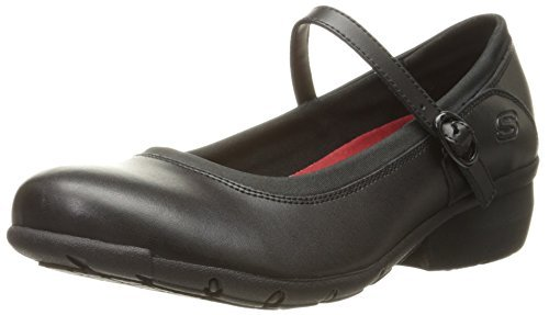 Skechers for Work Women's Toler Slip Resistant Shoe, Black Leather, 5 B(M) US