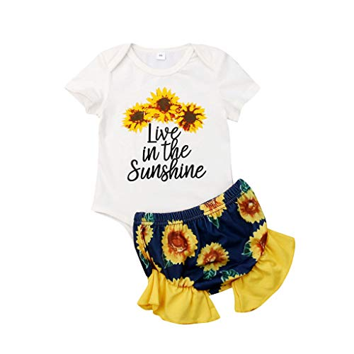 Kaicran Baby Clothing Kids Summer Clothes Girls Sunflowers Letter Printed Romper Shorts Outfits Set - Live in The Sunshine (68(0-3 Months), Yellow)