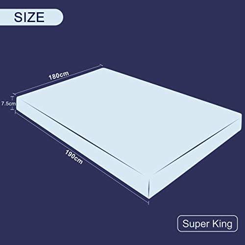 Subrtex Surmatelas en Mousse à mémoire de Forme 7,5 cm avec Housse en Bambou hypoallergénique (7,5 cm, Super King)