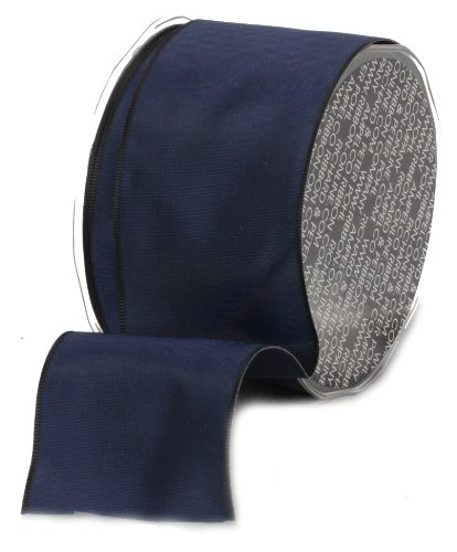 Ampelco Ribbon Company French Wired 27-Yard Taffeta Ribbon, 2.5-Inch, Navy Blue