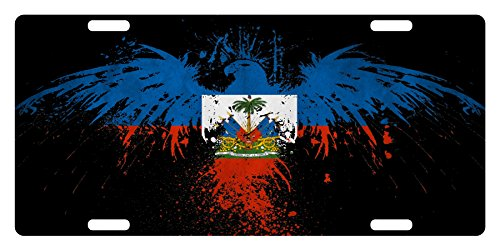 Fast Service Designs Haiti Flag Custom License Plate Haitian Creole Emblem Version # 2 (Eagle Version)