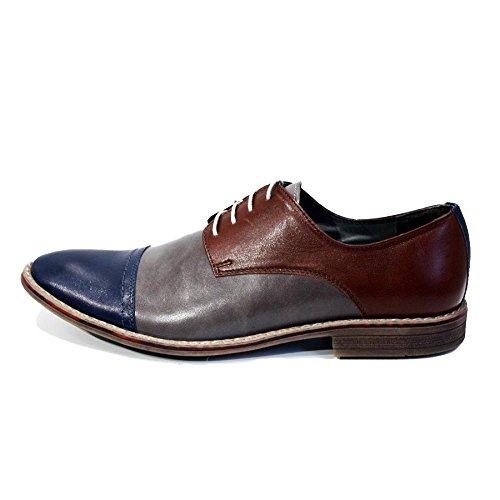 Modello Leoni - Handgemachtes Italienisch Leder Herren Bunt Oxfords Abendschuhe - Rindsleder Weiches Leder - Schnüren