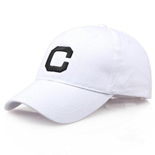 Fheaven (TM) Men Women Letter C Printed Hats Casual Unisex Hip-Hop Baseball Cap Adjustable (White)