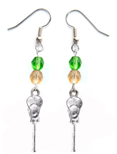 ''Lacrosse Stick & Ball'' Lacrosse Earrings (Team Colors Kelly Green & Gold) by Edge Sports