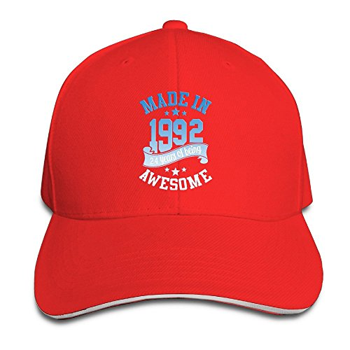 Adults Made In 1992 Awesome 24th Birthday Adjustable Sandwich Peak Cap Red (Hat Last King Red)