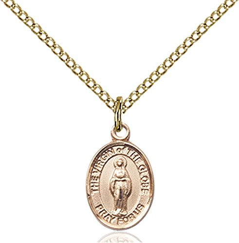 14k Gold Globe - Patron Saints by Bliss 14K Gold Filled Virgin of The Globe Petite Charm Medal, 1/2 Inch