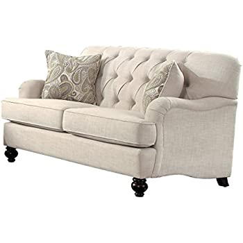 Homelegance Clemencia Classic Button Tufted English Arm Loveseat with Turned Legs and Linen-Like Cover, Cream