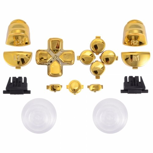 MODFREAKZ™ PS4 New Version JDM-030 Thumbsticks Dpad R1L1 R2L2 Share Option Home Buttons Chrome Gold For 2nd Gen Controller