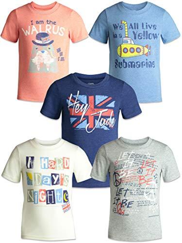 The Beatles Lyrics Toddler Boys Girls 5 Pack T-Shirts Blue, Red, White, Navy, Grey - Toddler Rock Girls Shirt