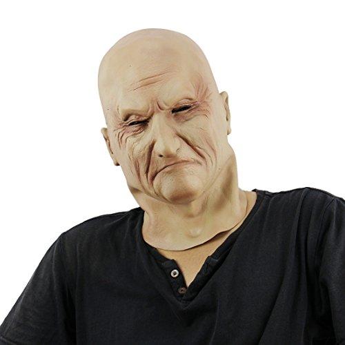 Xiao Chou Ri Ji Halloween Latex Head Mask Horror Zombie Costume Cosplay Props (Realistic Old Man Masks) Devil Adults]()