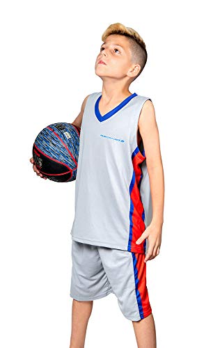 PAIRFORMANCE Premium Basketball Uniforms for Kids, Sizes 4-12, Boys and Girls Sports Activewear Matching Color Sets (Grey, Small)