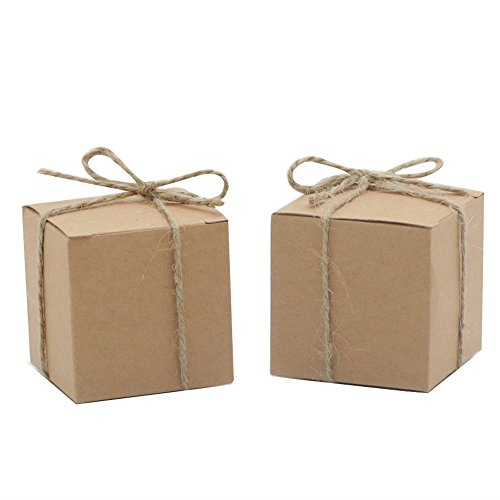 Amajoy 50pcs Kraft Favor Boxes with 50pcs Twine,