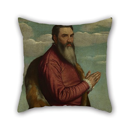 Artistdecor Oil Painting Moretto Da Brescia - Praying Man With A Long Beard Cushion Covers 20 X 20 Inches / 50 By 50 Cm Best Choice For Her,Dinning Room,Pub,Bar Seat,Valentine,Chair With Twice Side