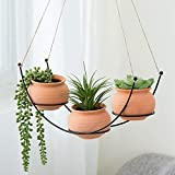 MyGift Set of 3 Orange Ceramic 3-Inch Planters with Tabletop & Hanging Metal Rack