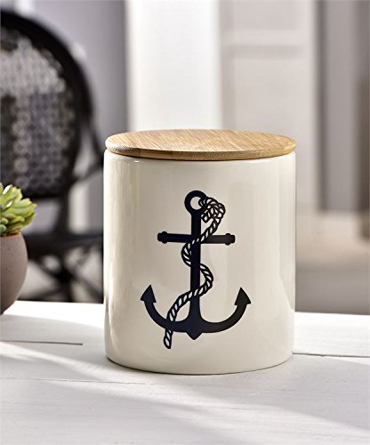 (Decorative Ceramic Jar with Lid Cookies Canister Kitchen Decor - Nautical Anchor Beach Theme - White)