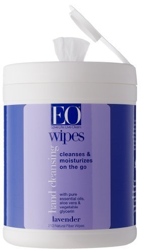 EO Hand Cleansing Natural Fiber Wipes, Lavender, 210 Wipes