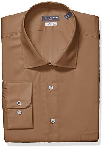Van Heusen Men's FIT Dress Shirts Flex Collar Solid (Big and Tall), Tobacco, 17