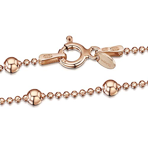 Amberta 14K Rose Gold Plated on 925 Sterling Silver 3.2 mm / 1.1 mm Ball Chain Necklace Length 18