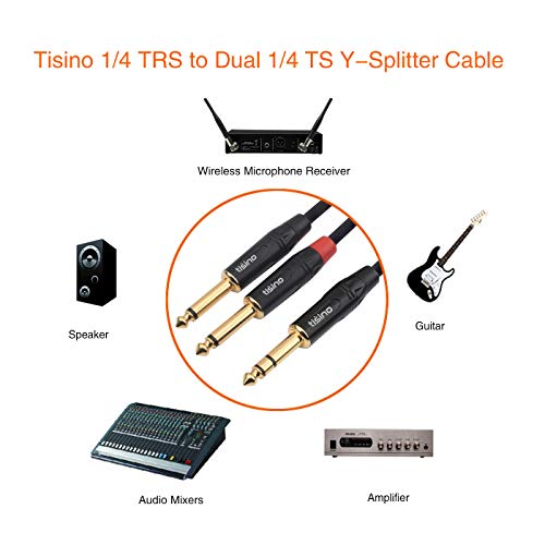 Tisino 1/4 inch TRS Stereo to Dual 1/4 inch TS Mono Y-Splitter Cable Send and Return Insert Cable Patch Cord - 10 feet by Tisino (Image #2)