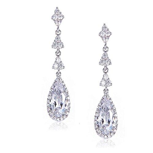 Wordless Love Teardrop Pear Shape CZ Women Bridal Necklace and Pierced Earring Jewelry Sets by Wordless Love (Image #1)