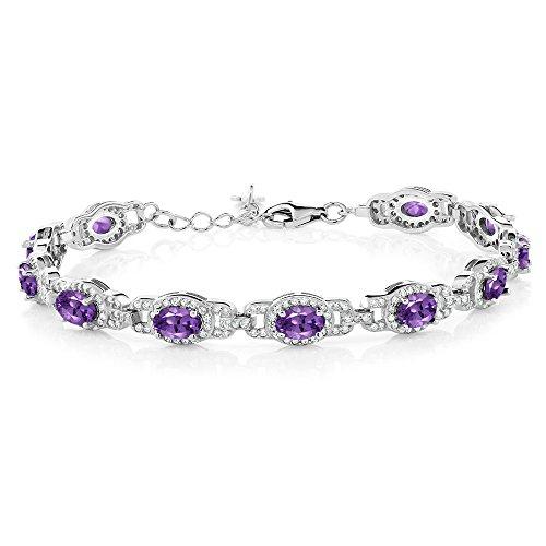 (Gem Stone King 925 Sterling Silver Purple Amethyst 8.55 Ctw Oval Gemstone Birthstone 7 Inch Bracelet with 1 Inch Extender)