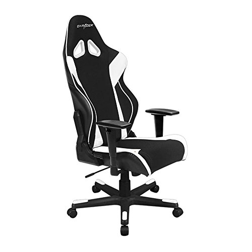 DXRacer Racing Series DOH/RW106/NW Newedge Edition Racing Bucket Seat Office Chair Gaming Chair Automotive Racing Seat Computer Chair eSports Chair Executive Chair Furniture With Pillows (Black/White) For Sale