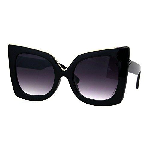 Womens Thick Plastic Bat Shape Cat Eye Butterfly Sunglasses Black - Bat Sunglasses