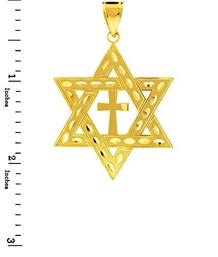 """Petits Merveilles D'amour - 14 ct Or Jaune 585/1000 Juifr Étoile de David Pendentif Croix (L) de 2,2 """"(Livré avec l'ONU 18"""" Chaîne)"""