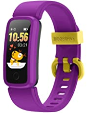 BIGGERFIVE VIGOR Fitness Tracker för Barn Flickor Pojkar Tonåringar, Aktivitetsmätare Stegräknare med Pulsmonitor och Sömnskärm, IP68 Vattentät Kaloriräknare Smart Klocka med Väckarklocka
