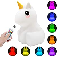 Kids Night Light Unicorn LED Touch Control Nightlight Mood Lamp with Remote Control Portable USB Rechargeable Multi…