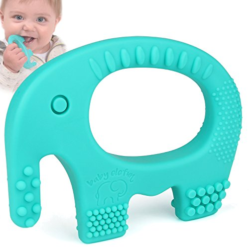 Baby Teething Toys - Adorable Turquoise Silicone Elephant Teether BPA Free - Best For Girl Or Boy Infant Newborn 3 6 12 Months/1 Year Old Cool Sensory Learning Baby Shower and Easter Gifts from baby elefun