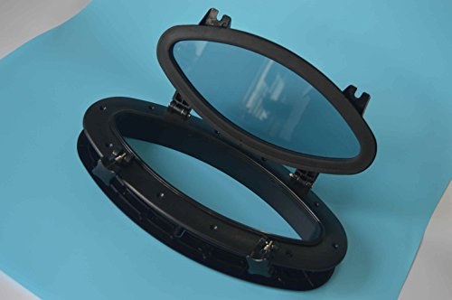 Amarine-made-Boat-Yacht-Elliptical-Oval-Opening-Portlight-Porthole-16-X-8-58-Replacement-Window-Port-Hole-ABS-Black-Tempered-Glass