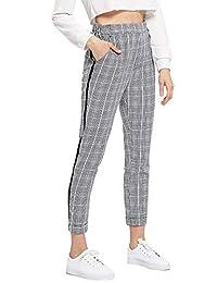 SweatyRocks Corbata de Mujer Cintura Alta a Rayas a Cuadros Casual Pantalones Largos Bolsillos, Grey#2, M