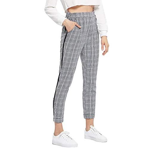 SweatyRocks Womens Tie High Waist Striped Plaid Casual Long Pants Pockets
