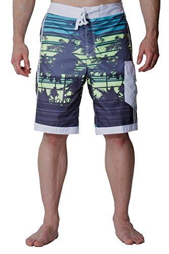 Mesh Hybrid (Alki'i Men's Hybrid Boardshorts with mesh lining - Isla Palms Slate XL)