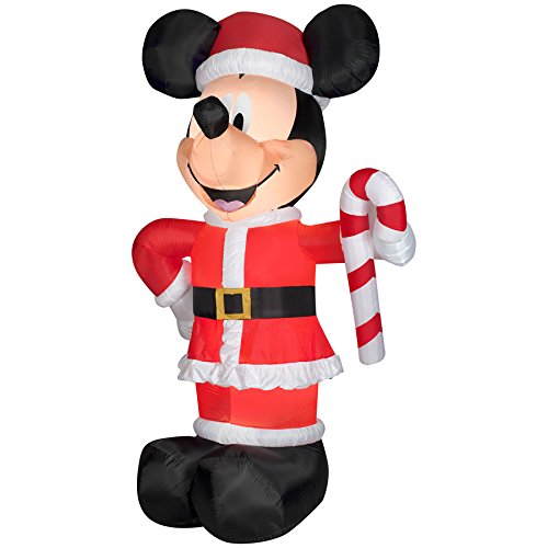 Christmas Disney Inflatable Giant 10 1/2' LED Mickey Mouse Santa w/ Candy Cane By Gemmy by Gemmy (Image #1)