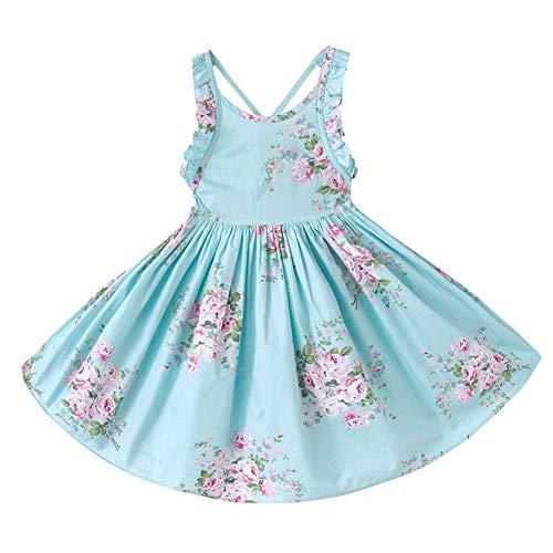 RJXDLT Baby Girls Sling Bowknot Lemon Print Skirt Dress 4-5 Years Blue 361