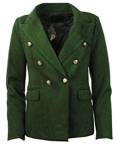 ld Button Double Breasted Military Style Ladies Blazer ()