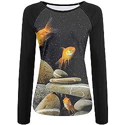 Tqx5ee Fish Aquarium Rocks Girls UPF 50+ Sun Protection Long Sleeve Outdoor Performance T-Shirt Recreation Shirts for Girl