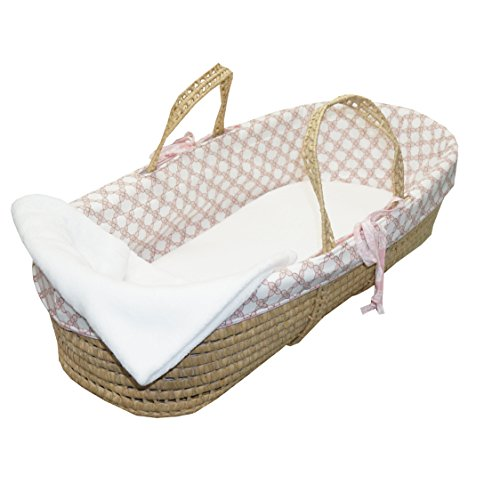 Cotton Tale Designs 100% Cotton Soft Pink White Tan Floral Lattice Girl Wicker Moses Basket by Cotton Tale Designs