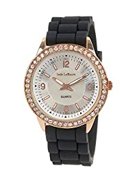Women's Black Silicone Band Watch Rose Gold Tone Crystal Bezel Designer Inspired Jade LeBaum - JB202755G