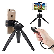 Bluetooth Remote Control by CamKix - Wireless Remote for Smartphones – Suitable for Camera Shutter Release for Photos and Selfies - Compatible with Apple IOS and Android / iPhone / iPad/Samsung Galaxy / and Other Cell Phones and Tablets / Also Incl (Premium Tripod + Bluetooth Shutter Remote)