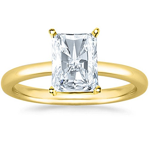 0.5 1/2 Ct Radiant Cut Solitaire Diamond Engagement Ring 14K Yellow Gold (G Color SI1 Clarity) (Diamond Radiant Si1 Solitaire)