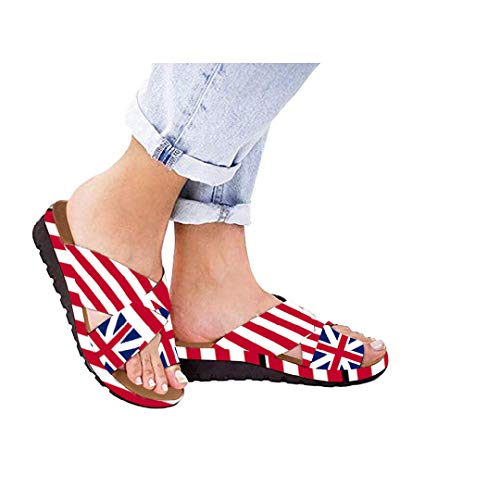 Toponly 2019 Women Comfy Open Clip Toe Star Stripes Flag Cross Printed Wedges Platform Slippers Summer Beach Travel Flip-Flops Thick Bottomed Sandals Ladies Roman Flats Shoes