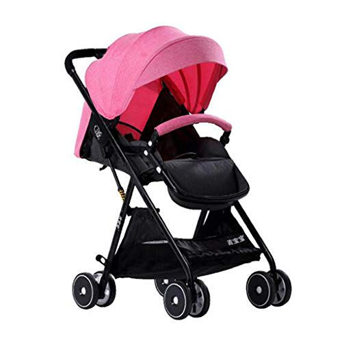 YZ-YUAN Sillas De Paseo Cochecito De Bebé Cochecito Ligero Sistema De Viaje Plegable Cochecito De Bebé Ligero,Pink