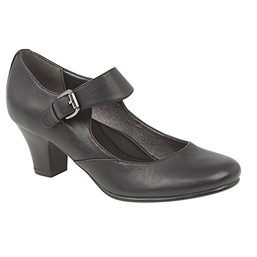 Heel Buckle Black Womens Ladies Shoes Medium Court Bar Boulevard qtO1z